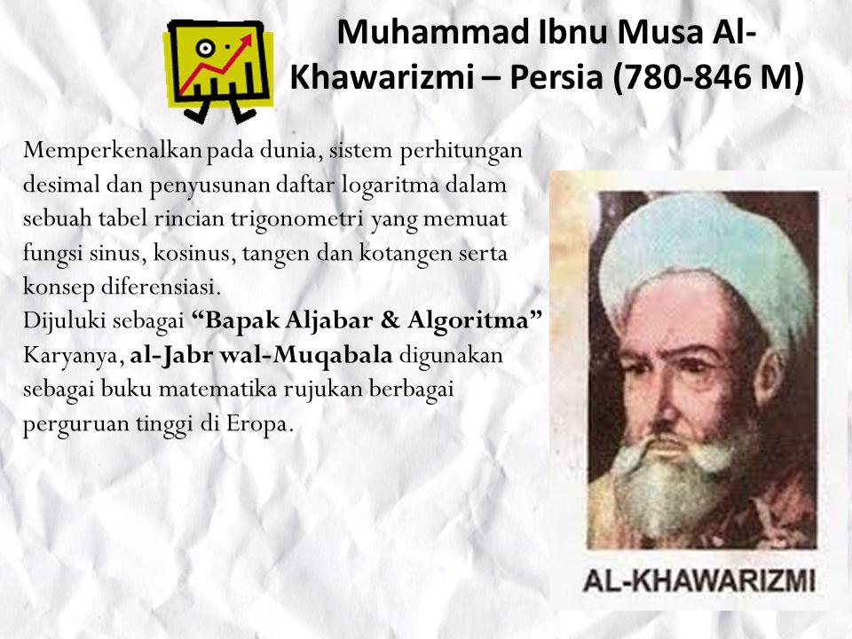 Muhammad Ibnu Musa Al-Khawarizmi – Persia (780-846 M)