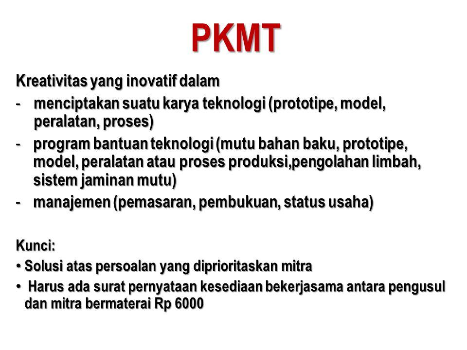 PKMT Kreativitas yang inovatif dalam