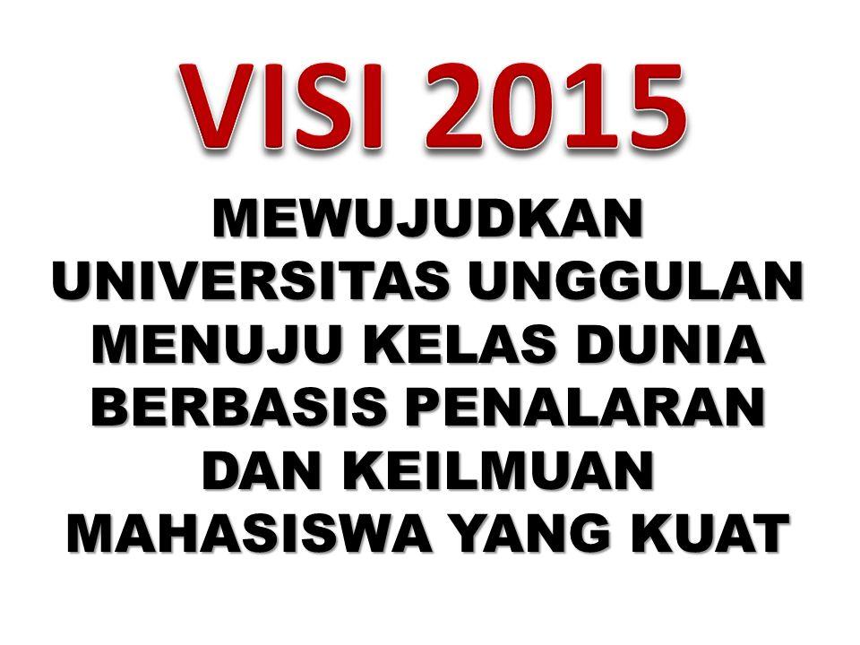 VISI 2015 MEWUJUDKAN UNIVERSITAS UNGGULAN MENUJU KELAS DUNIA BERBASIS PENALARAN DAN KEILMUAN MAHASISWA YANG KUAT.