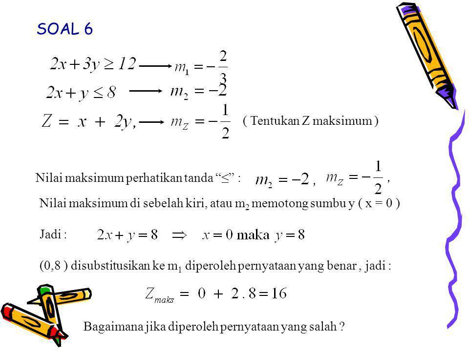 SOAL 6 ( Tentukan Z maksimum ) Nilai maksimum perhatikan tanda ≤ :
