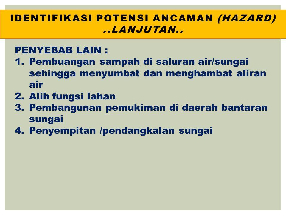 IDENTIFIKASI POTENSI ANCAMAN (HAZARD) ..lanjutan..