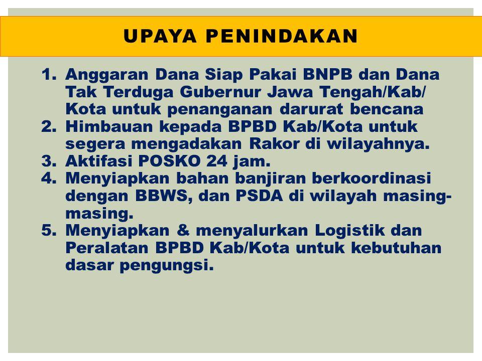 UPAYA penindakan Anggaran Dana Siap Pakai BNPB dan Dana Tak Terduga Gubernur Jawa Tengah/Kab/ Kota untuk penanganan darurat bencana.