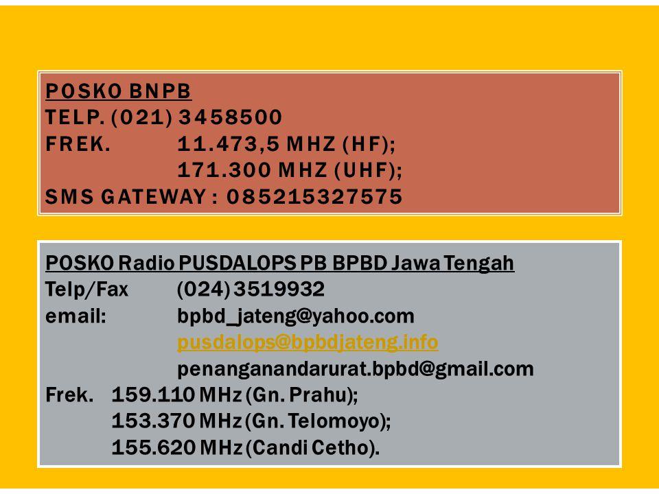 POSKO BNPB Telp. (021) 3458500 Frek. 11. 473,5 MHz (HF);. 171
