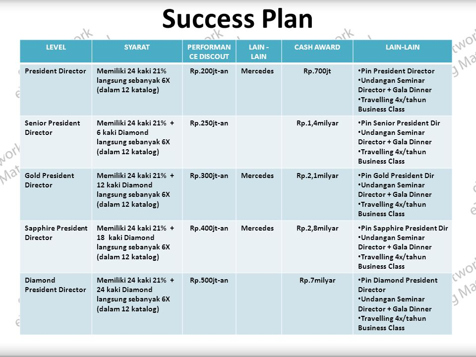 Success Plan LEVEL SYARAT PERFORMANCE DISCOUT LAIN - LAIN CASH AWARD
