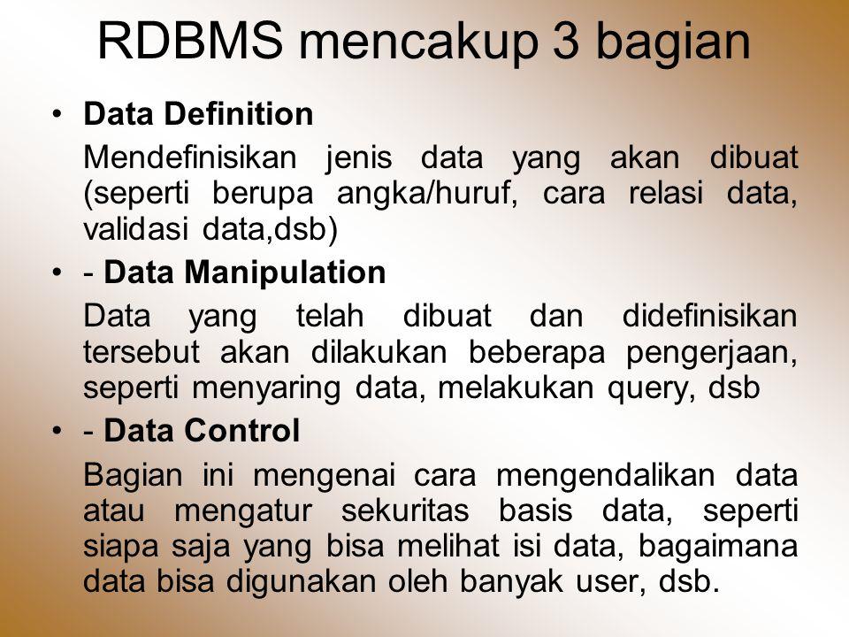 RDBMS mencakup 3 bagian Data Definition