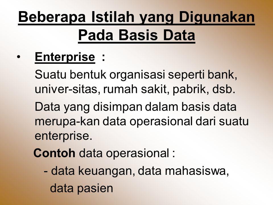 Beberapa Istilah yang Digunakan Pada Basis Data