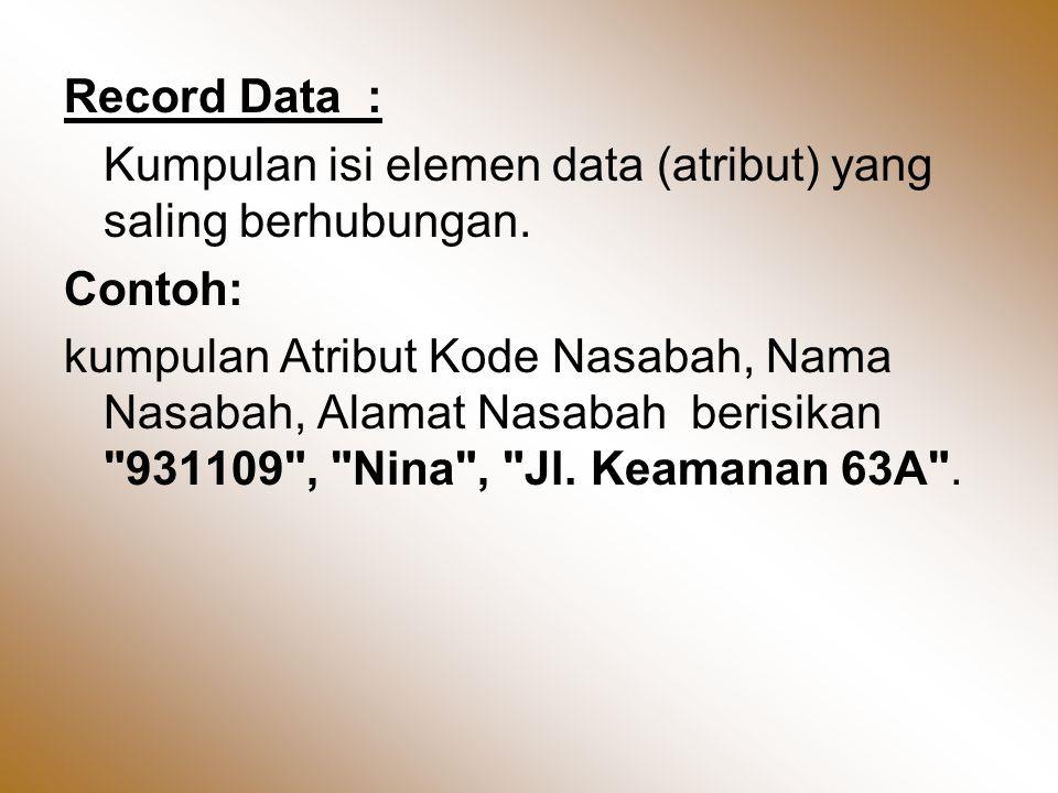 Record Data : Kumpulan isi elemen data (atribut) yang saling berhubungan. Contoh: