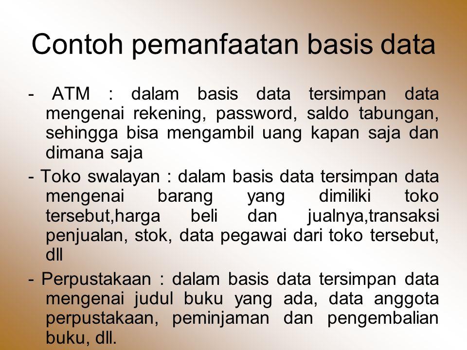 Contoh pemanfaatan basis data