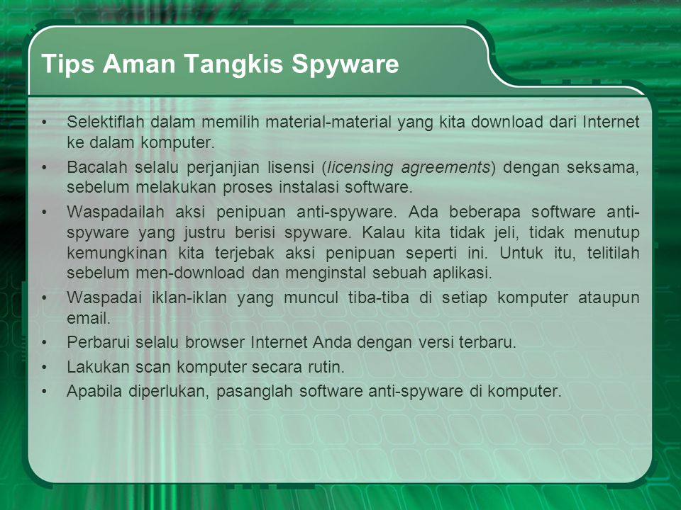 Tips Aman Tangkis Spyware