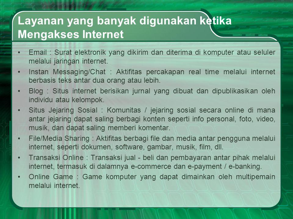 Layanan yang banyak digunakan ketika Mengakses Internet