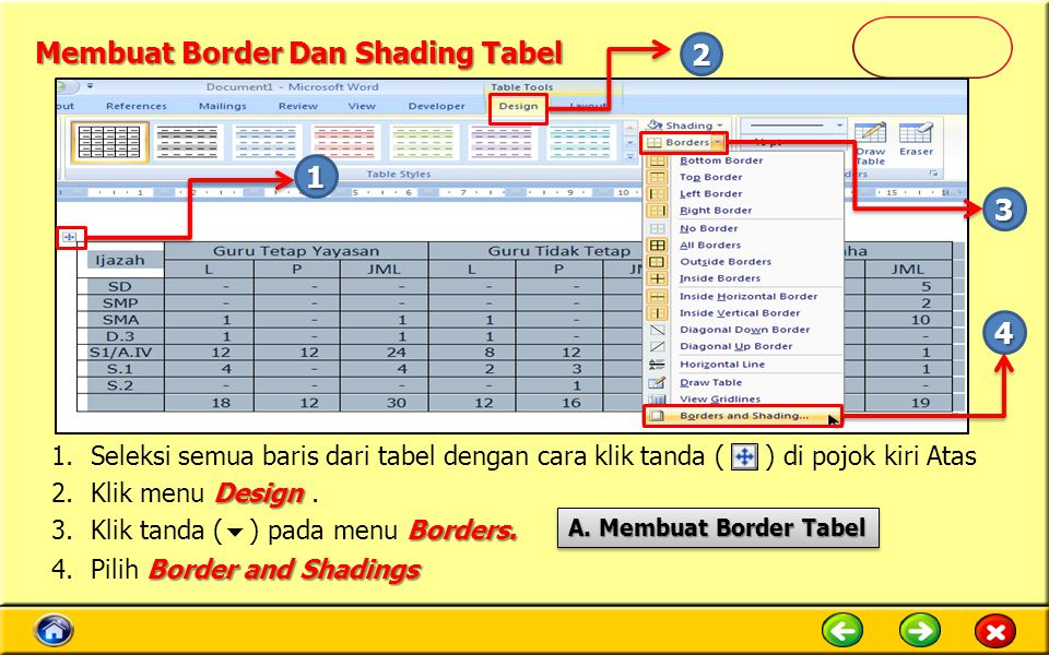 Membuat Border Dan Shading Tabel