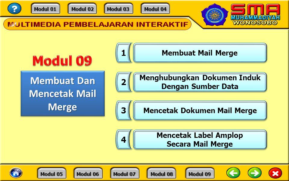 Modul 09 Membuat Dan Mencetak Mail Merge 1 2 3 4 Membuat Mail Merge