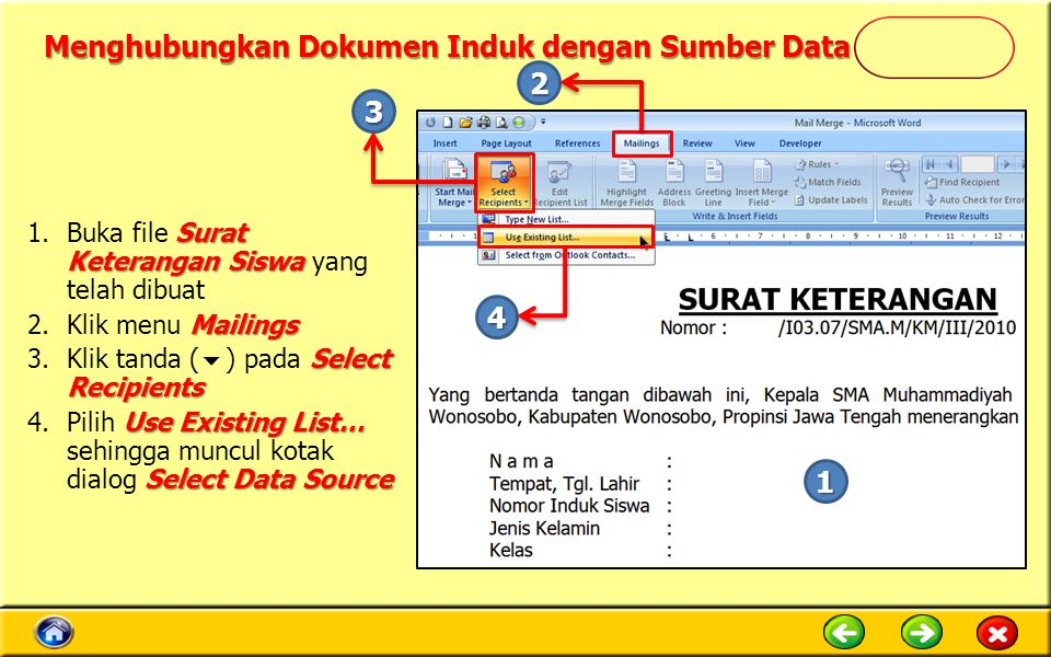Menghubungkan Dokumen Induk dengan Sumber Data