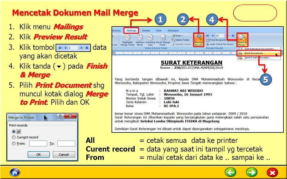 Mencetak Dokumen Mail Merge