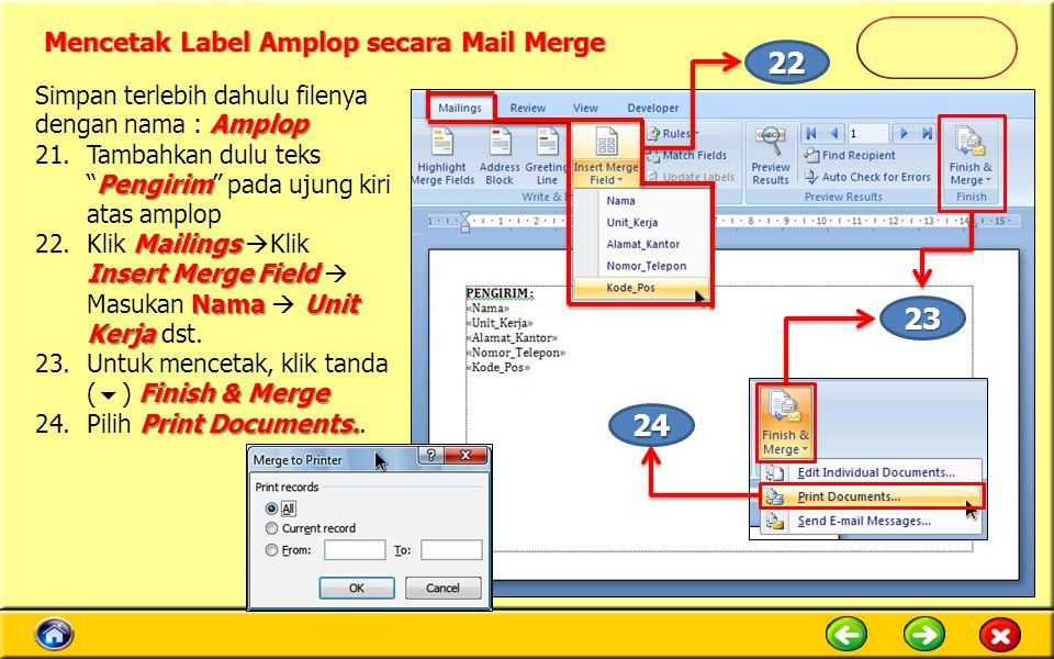 Mencetak Label Amplop secara Mail Merge