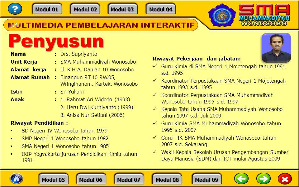 Penyusun Nama : Drs. Supriyanto Unit Kerja : SMA Muhammadiyah Wonosobo