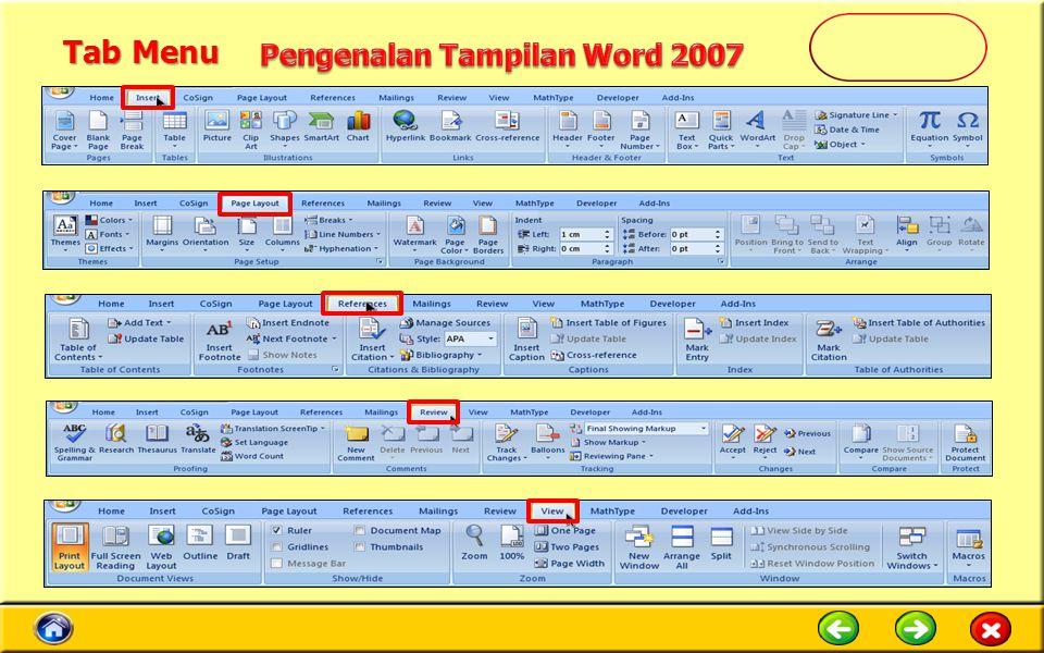 Tab Menu Pengenalan Tampilan Word 2007