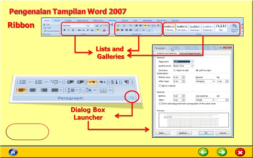 Ribbon Pengenalan Tampilan Word 2007 Lists and Galleries Dialog Box