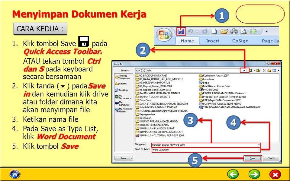 Menyimpan Dokumen Kerja