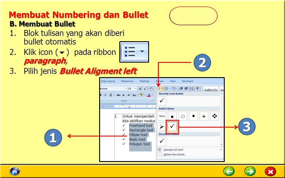 Membuat Numbering dan Bullet