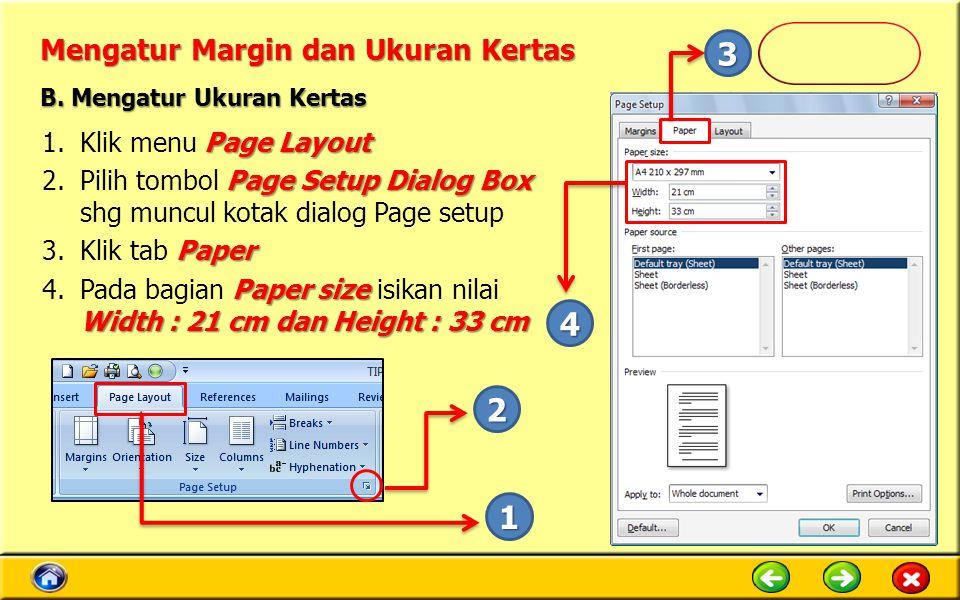 Mengatur Margin dan Ukuran Kertas