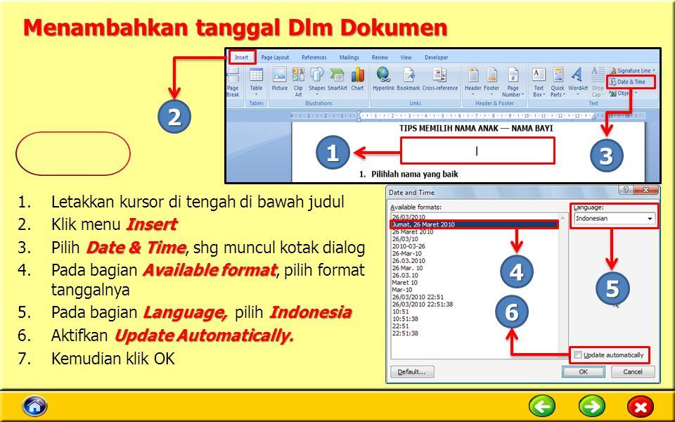 Menambahkan tanggal Dlm Dokumen