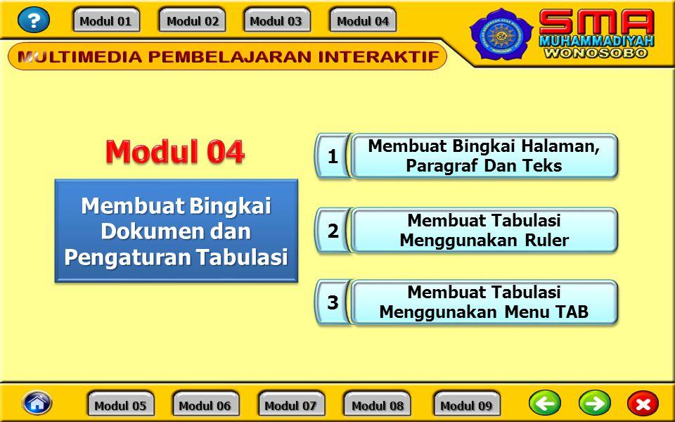Modul 04 Membuat Bingkai Dokumen dan Pengaturan Tabulasi 1 2 3