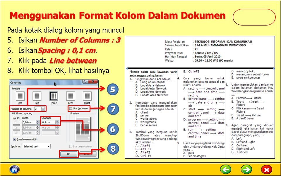 Menggunakan Format Kolom Dalam Dokumen