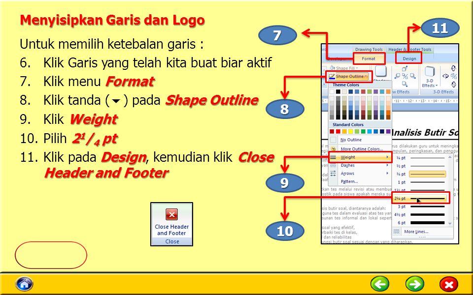 Menyisipkan Garis dan Logo
