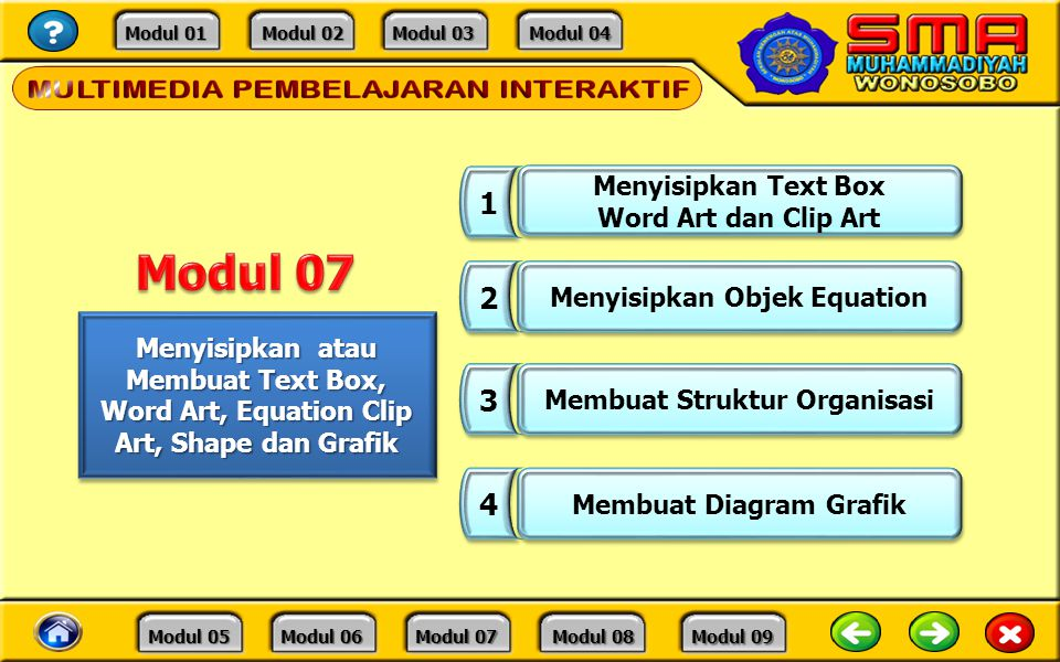 Modul 07 1 2 3 4 Menyisipkan Text Box Word Art dan Clip Art