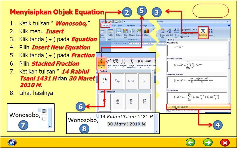 Menyisipkan Objek Equation