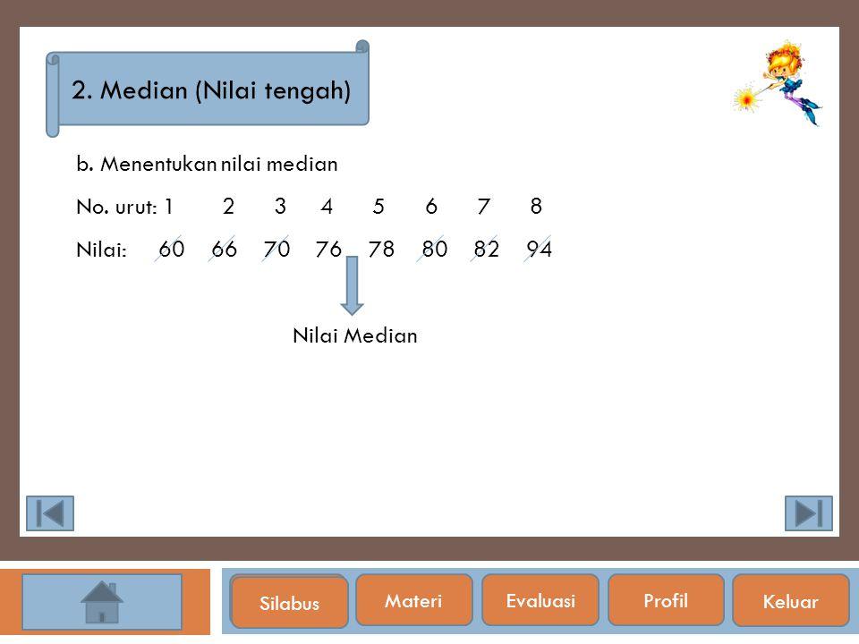 2. Median (Nilai tengah) b. Menentukan nilai median