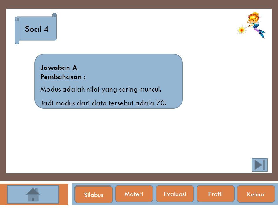 Soal 4 Jawaban A Pembahasan : Modus adalah nilai yang sering muncul.