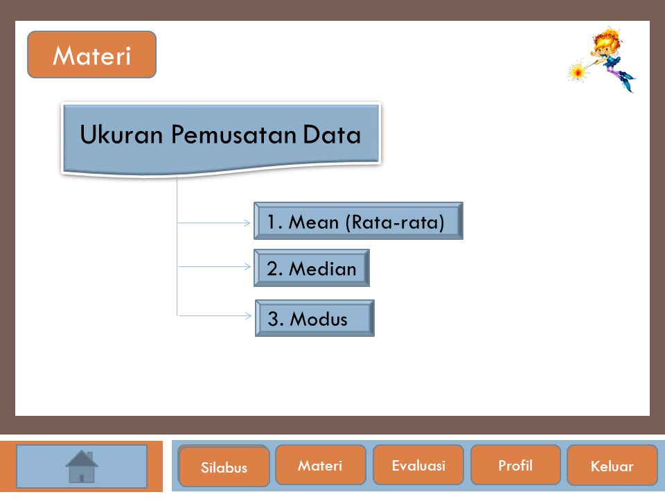 Materi Ukuran Pemusatan Data 1. Mean (Rata-rata) 2. Median 3. Modus
