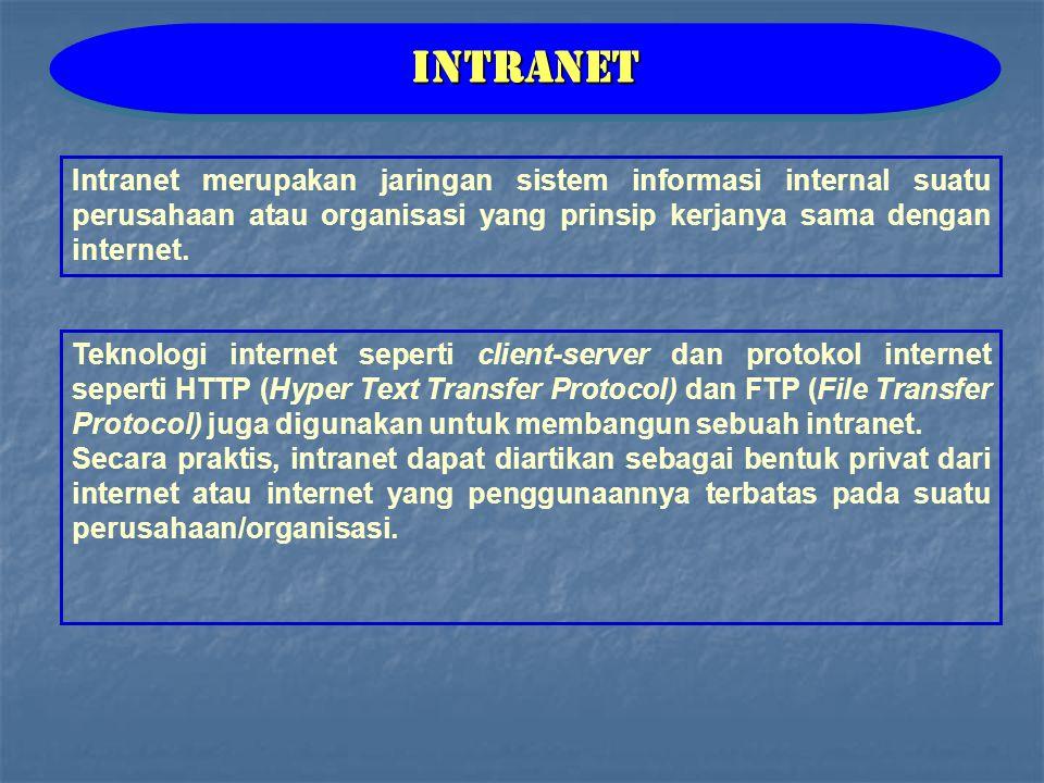 Intranet Intranet merupakan jaringan sistem informasi internal suatu perusahaan atau organisasi yang prinsip kerjanya sama dengan internet.