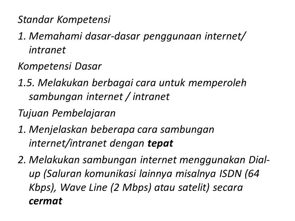 Standar Kompetensi Memahami dasar-dasar penggunaan internet/ intranet. Kompetensi Dasar.