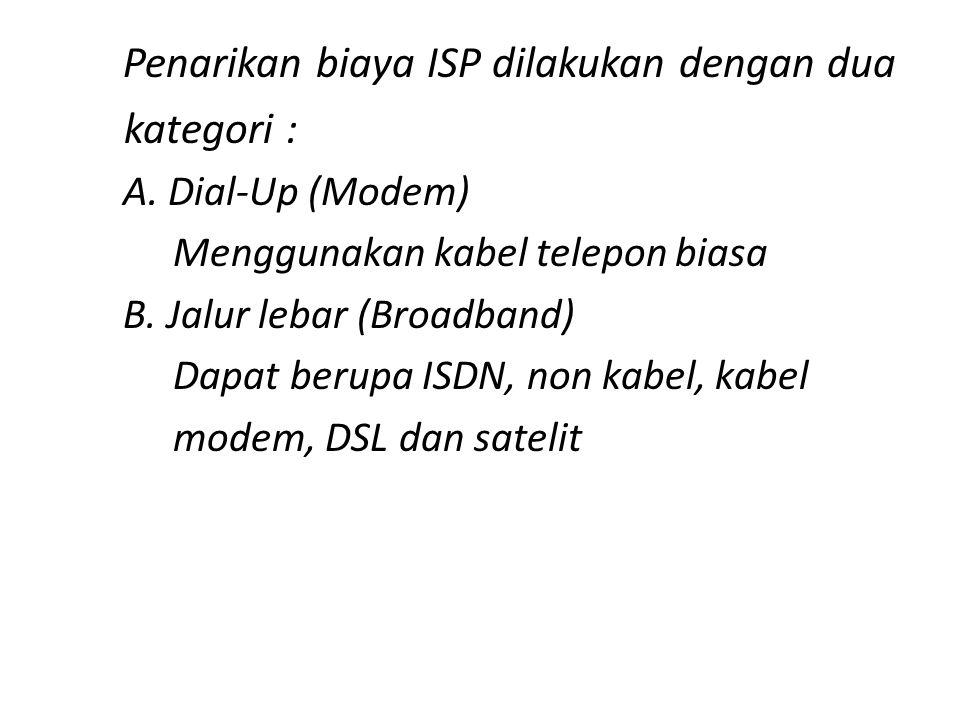 kategori : Penarikan biaya ISP dilakukan dengan dua A. Dial-Up (Modem)