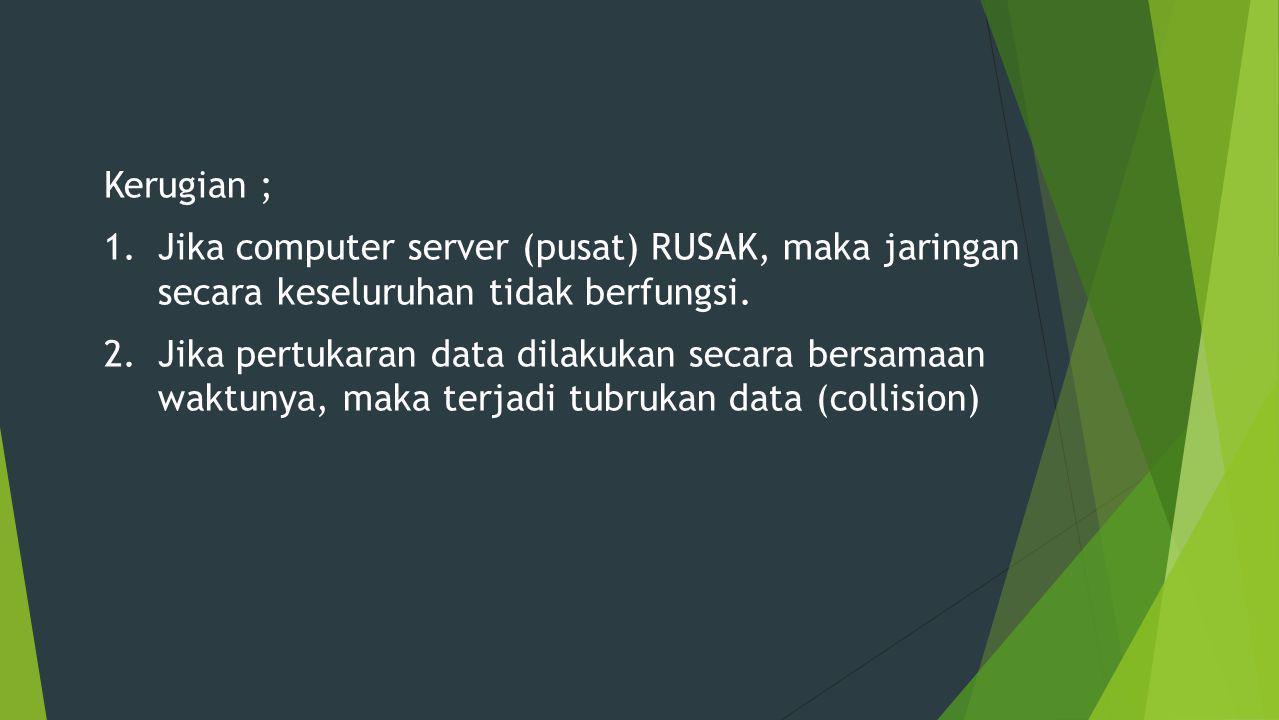 Kerugian ; Jika computer server (pusat) RUSAK, maka jaringan secara keseluruhan tidak berfungsi.