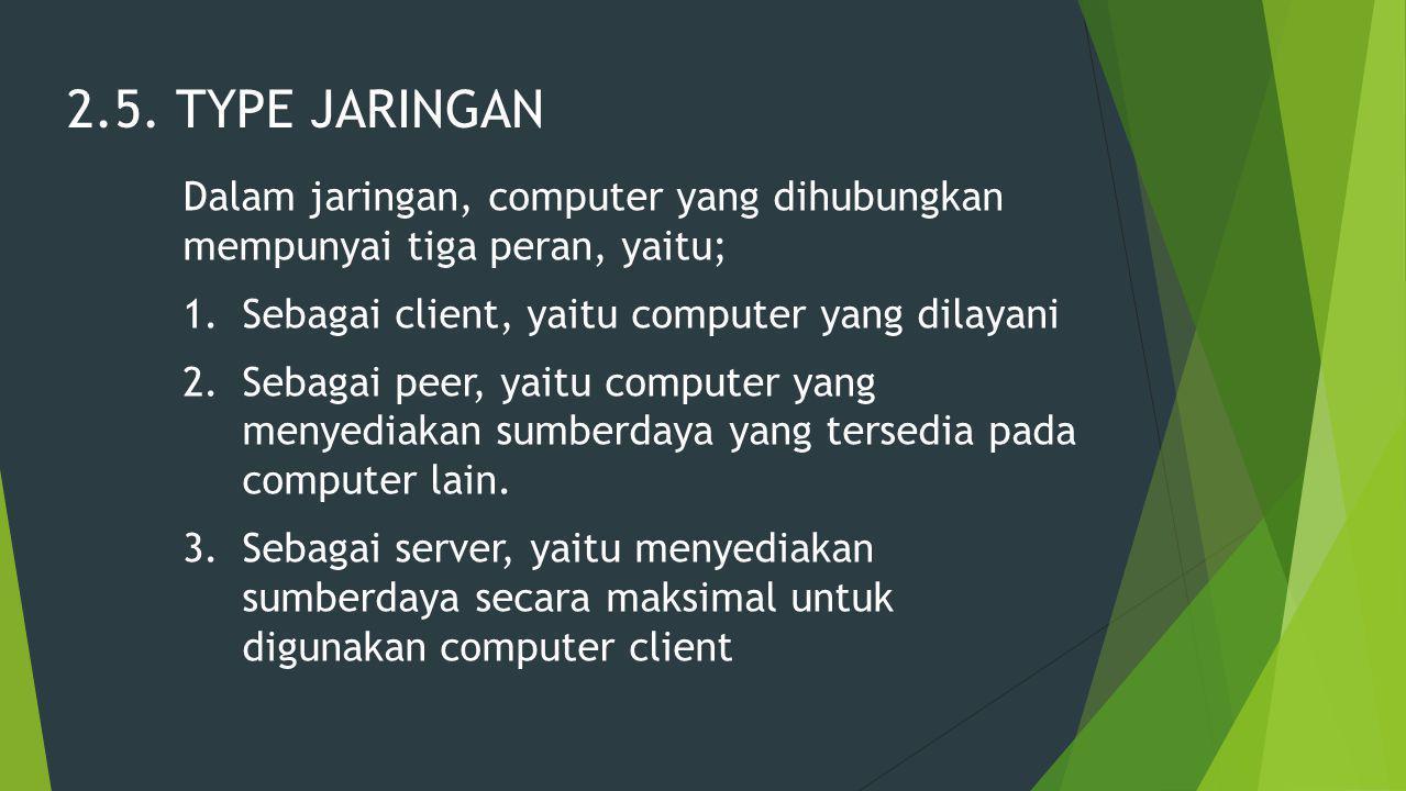 2.5. TYPE JARINGAN Dalam jaringan, computer yang dihubungkan mempunyai tiga peran, yaitu; Sebagai client, yaitu computer yang dilayani.