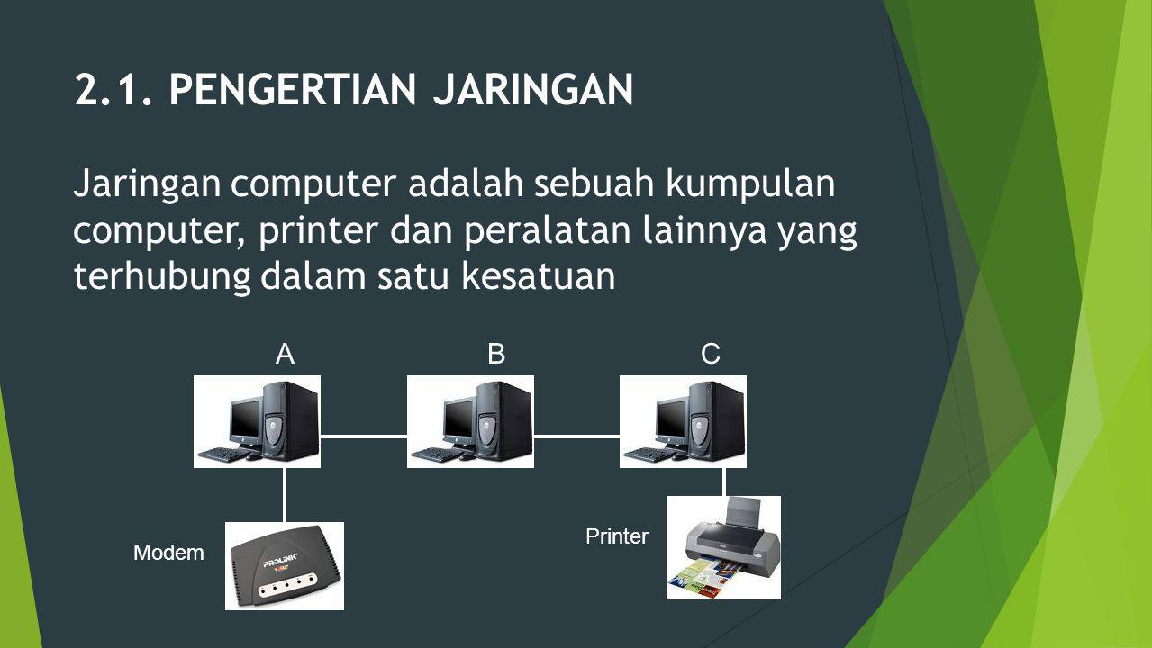 2.1. PENGERTIAN JARINGAN Jaringan computer adalah sebuah kumpulan computer, printer dan peralatan lainnya yang terhubung dalam satu kesatuan.
