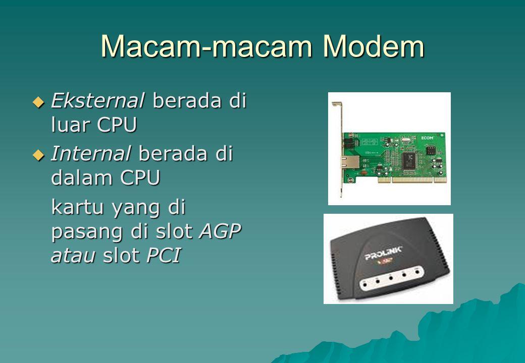 Macam-macam Modem Eksternal berada di luar CPU