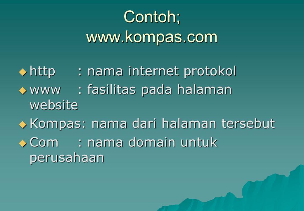 Contoh; www.kompas.com http : nama internet protokol