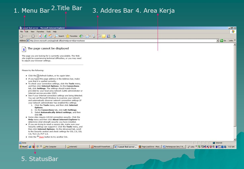 2.Title Bar 1. Menu Bar 3. Addres Bar 4. Area Kerja 5. StatusBar