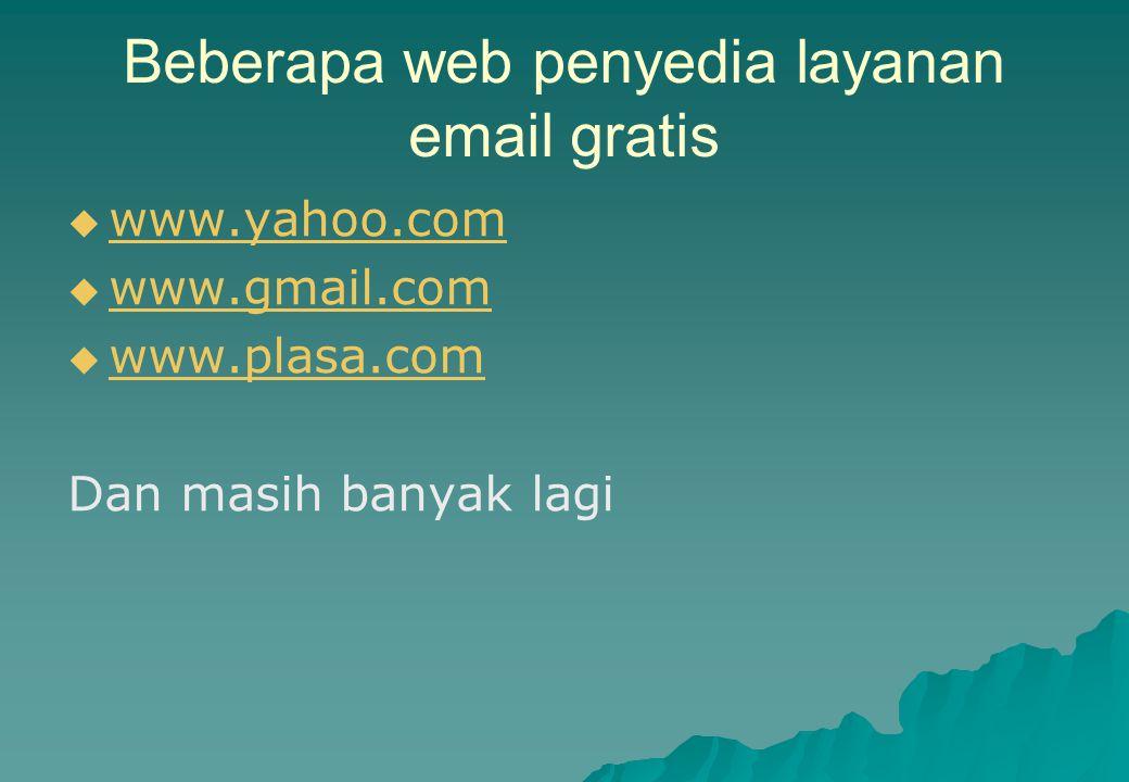 Beberapa web penyedia layanan email gratis