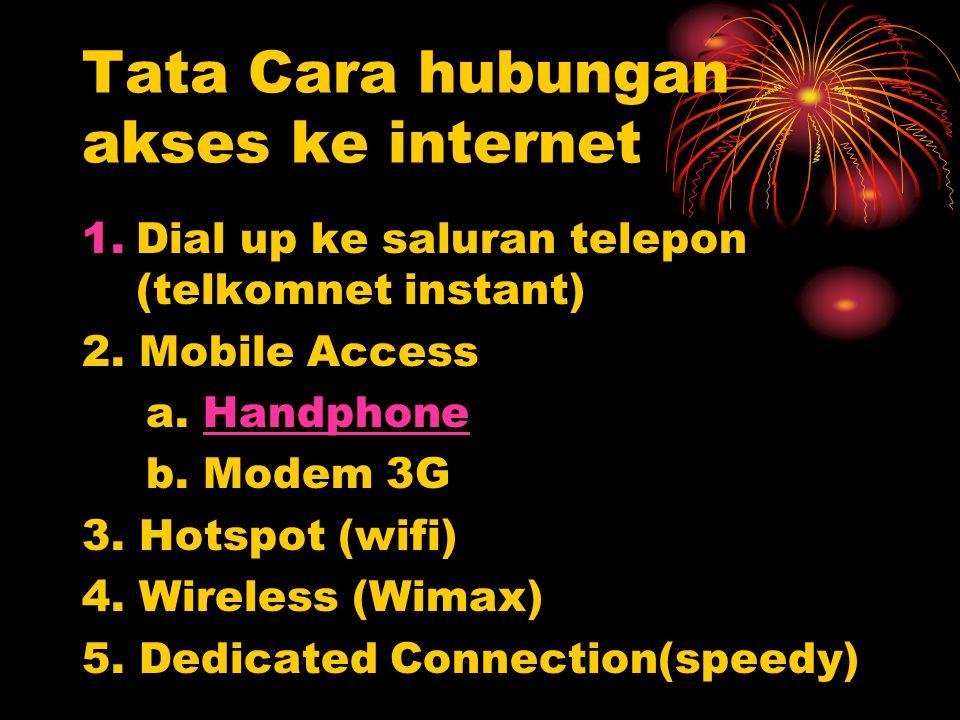 Tata Cara hubungan akses ke internet