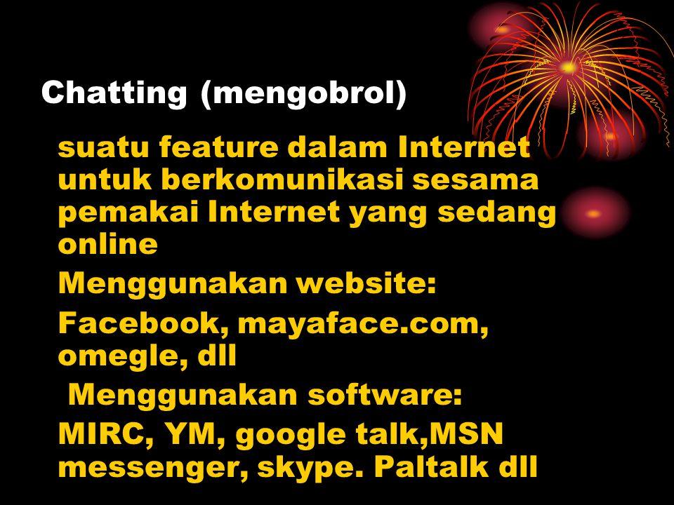 Chatting (mengobrol) suatu feature dalam Internet untuk berkomunikasi sesama pemakai Internet yang sedang online.