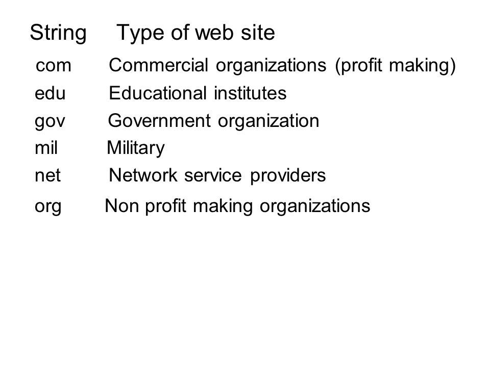 com Commercial organizations (profit making)
