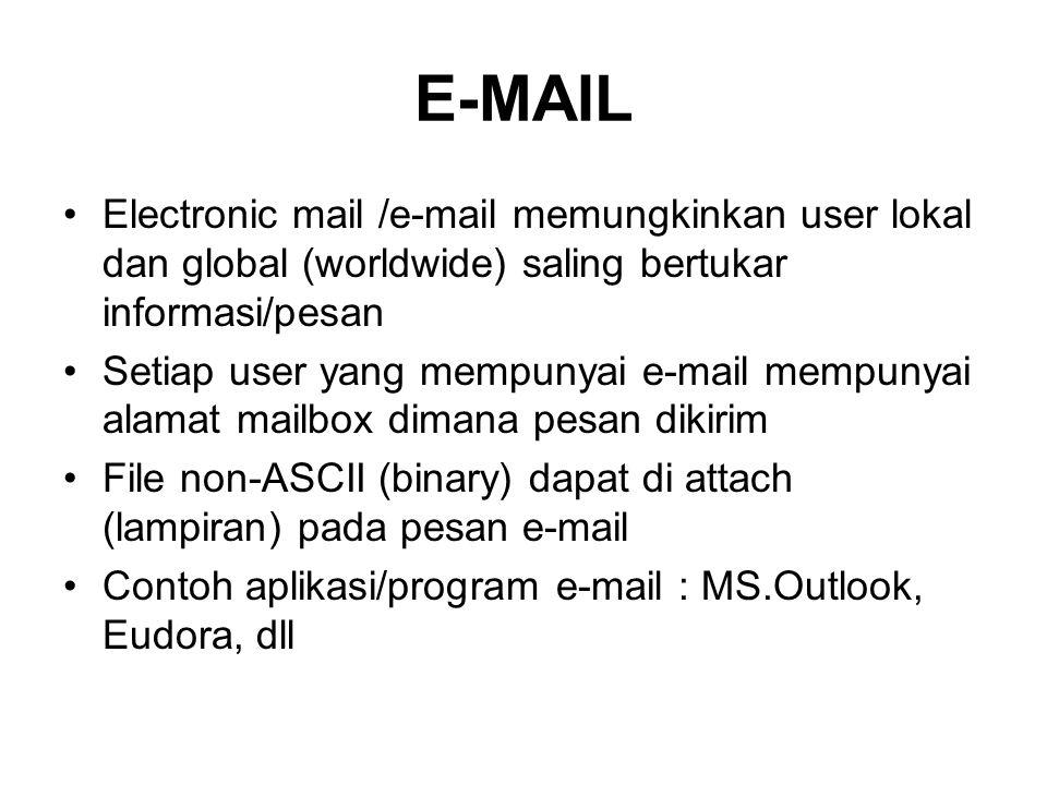 E-MAIL Electronic mail /e-mail memungkinkan user lokal dan global (worldwide) saling bertukar informasi/pesan.