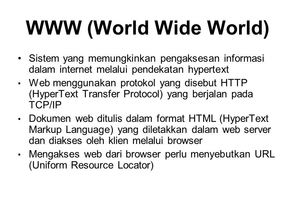 WWW (World Wide World) Sistem yang memungkinkan pengaksesan informasi dalam internet melalui pendekatan hypertext.