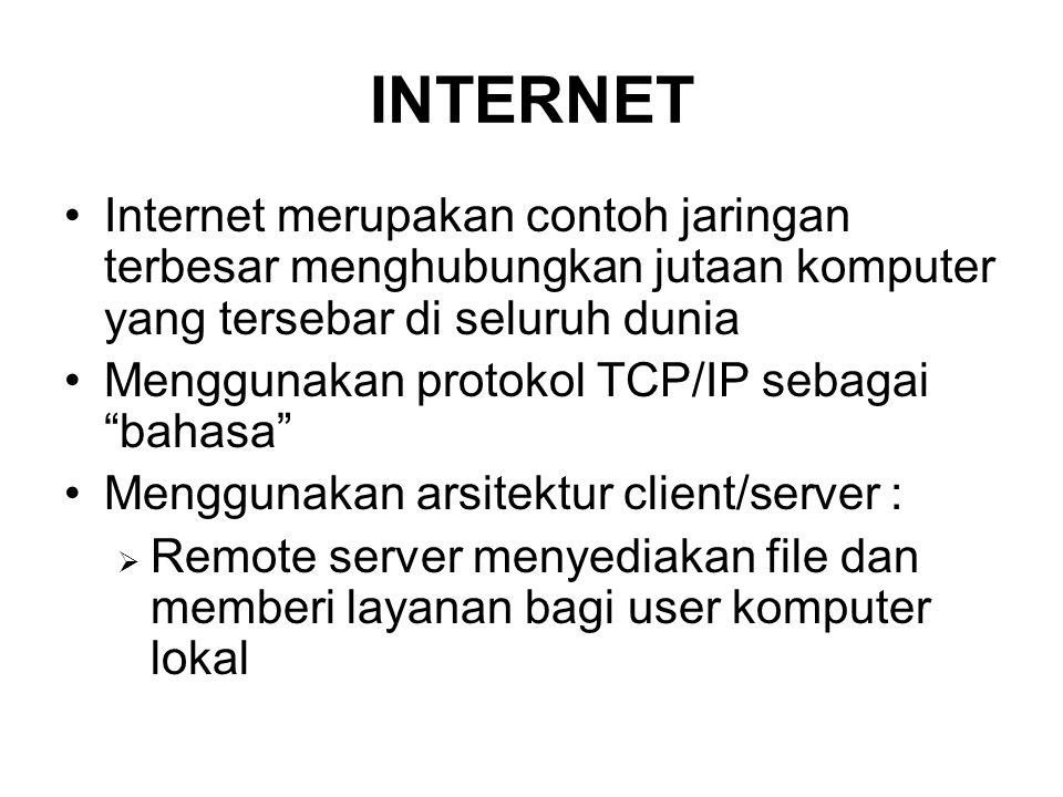 INTERNET Internet merupakan contoh jaringan terbesar menghubungkan jutaan komputer yang tersebar di seluruh dunia.